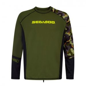 With Sea-Doo's Camo long sleeve men's rashguard, there's no need to sacrifice comfort and protection on your PWC ride. An essential part of any Sea-Doo PWC riding gear collection, this rashguard features SPF 50+ UV Lycra protection. A relaxed fit allows for more comfort, while its functional cut allows you to move freely. Available in camo, sizes XS to 2XL. 85% Polyester, 15% Spandex.