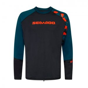 An essential part of any Sea-Doo PWC riding gear collection, the Catching Waves long sleeve men's rashguard not only offers riders comfort and warmth, it also provides superior protection against the sun, rashes and other skin irritation. With SPF 50+ UV Lycra protection. A relaxed fit allows for more comfort, while its functional cut allows you to move freely. Sizes XS to 2XL.